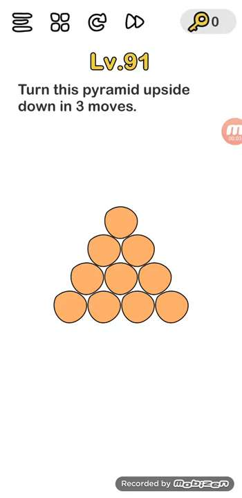 Brain Out Level 91 Solution Turn This Pyramid Upside Down In 3 Moves Puzzle Game Master