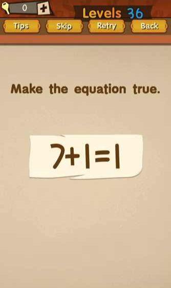 Super Brain Level 36 Solution Make The Equation True 7 1 1