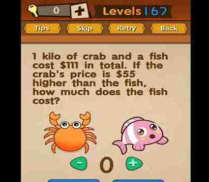 Super Brain Level 167 Solution How Much The Fish Cost Puzzle
