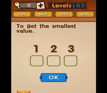 Super Brain Level 197 Answer To Get The Smallest Value Puzzle